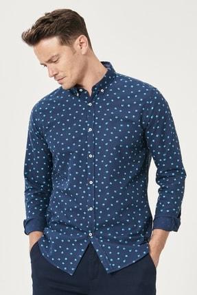 Altınyıldız Classics Erkek Lacivert Tailored Slim Fit Düğmeli Yaka Baskılı %100 Koton Gömlek 2