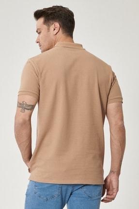 Altınyıldız Classics Erkek Vizon Polo Yaka Cepsiz Slim Fit Dar Kesim %100 Koton Düz Tişört 4