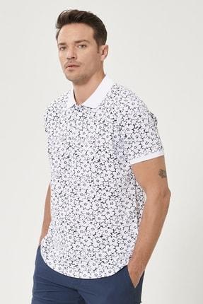 Altınyıldız Classics Erkek Beyaz-Lacivert Polo Yaka Cepsiz Slim Fit Dar Kesim %100 Koton Desenli Tişört 2