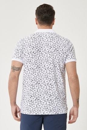 Altınyıldız Classics Erkek Beyaz-Lacivert Polo Yaka Cepsiz Slim Fit Dar Kesim %100 Koton Desenli Tişört 3