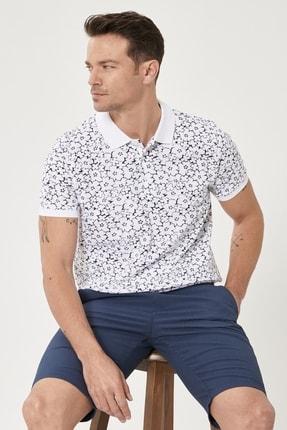 Altınyıldız Classics Erkek Beyaz-Lacivert Polo Yaka Cepsiz Slim Fit Dar Kesim %100 Koton Desenli Tişört 4