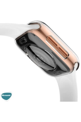 Apple Microsonic Watch Series 3 42mm Kılıf 360 Full Round Soft Silicone Şeffaf 3