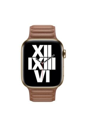 Apple Microsonic Watch Series 6 40mm Kordon Leather Link Band Kahverengi 2