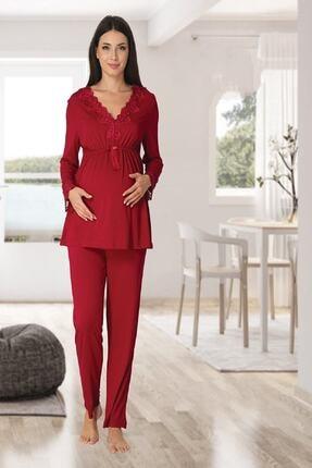 Effort Pijama Zerre Bebe Kadın Vişne Uzun Kollu Pijama Takımı Gecelik Sabahlık Lohusa Hamile 4'lü Set 2