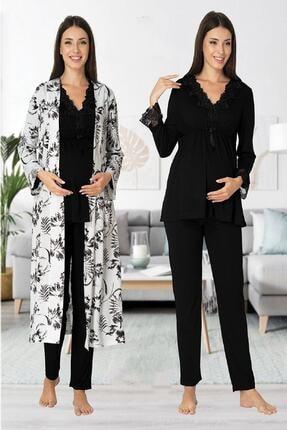 Effort Pijama Zerre Bebe Kadın Siyah Uzun Kollu Hamile Pijama Takımı Sabahlık Lohusa Set 0