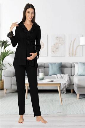 Effort Pijama Zerre Bebe Kadın Siyah Uzun Kollu Hamile Pijama Takımı Sabahlık Lohusa Set 1