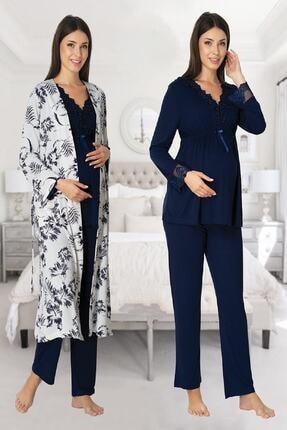 Effort Pijama Zerre Bebe Kadın Lacivert Uzun Kollu Hamile Pijama Takımı Sabahlık Set 0