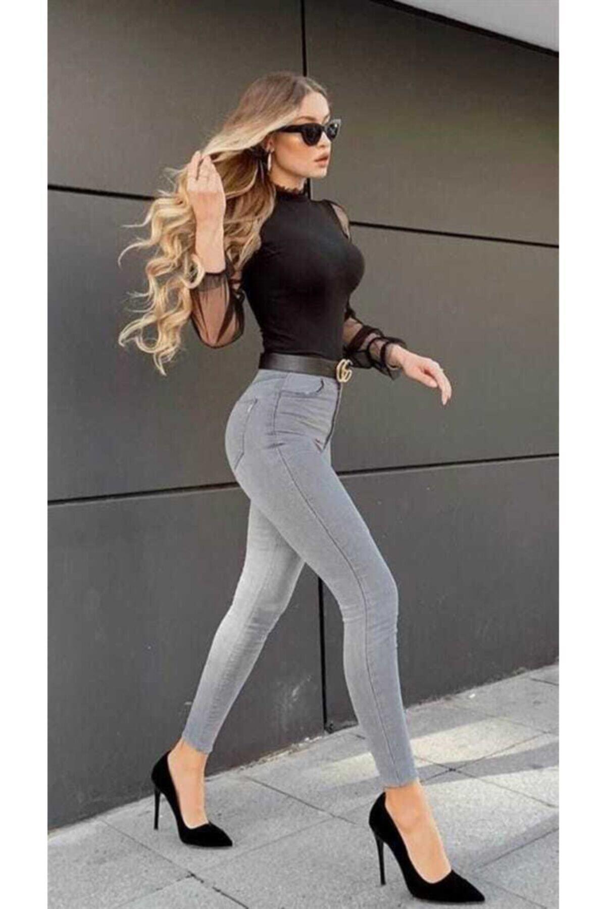 Süper Skinny Gri Jeans ( Toparlayıcı )