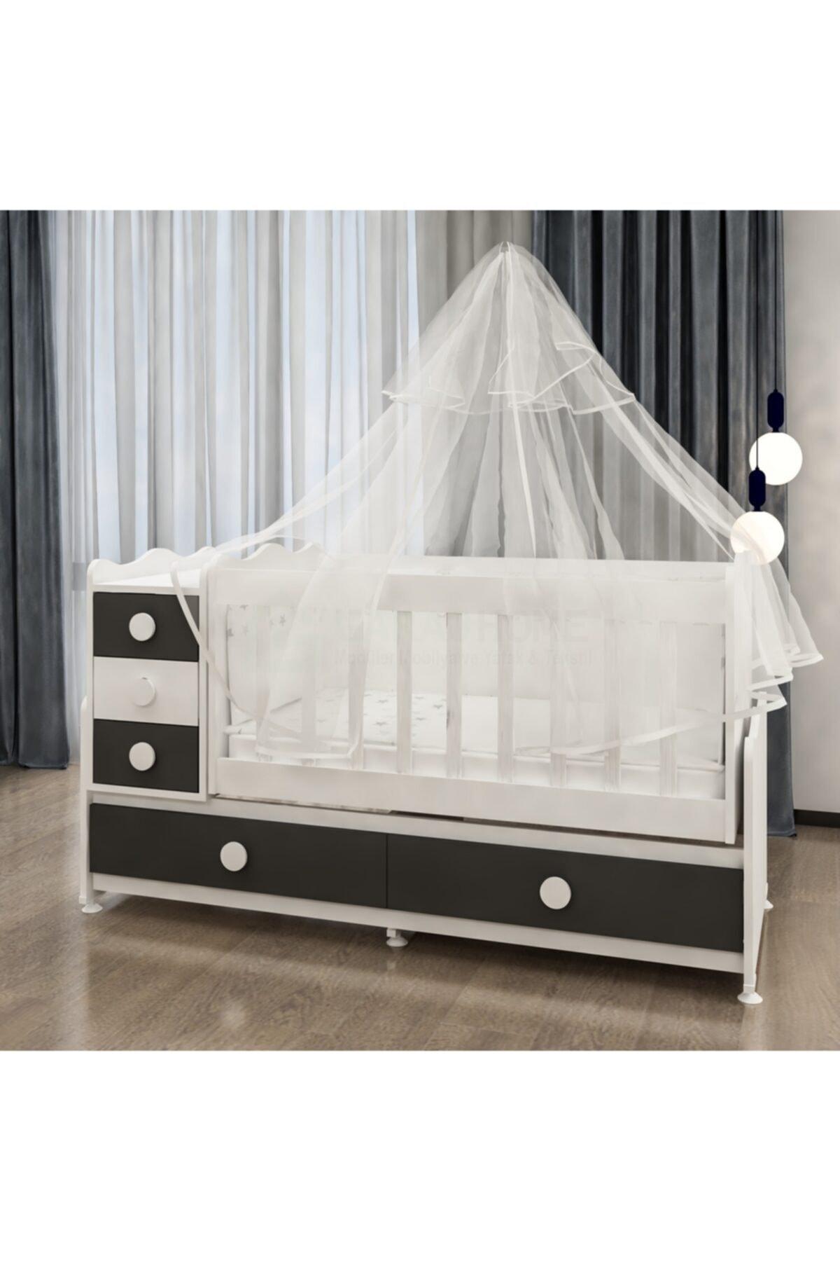 Melina Lüks Uyku Setli Beşik Kombini-gri