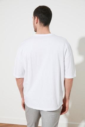 TRENDYOL MAN Beyaz Erkek Geniş Kesim T-Shirt TMNSS20TS0947 4