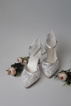 Kadın Çiçek Dantel Beyaz Abiye Topuklu Ayakkabı aynurabiye034