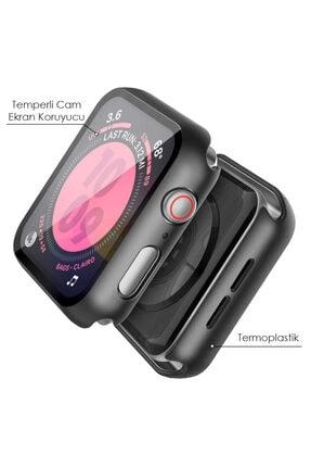 Apple Microsonic Watch Series 3 38mm Kılıf Matte Premium Slim Watchband Siyah 2