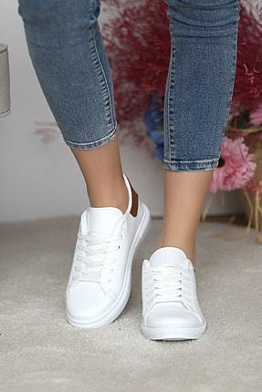 Pembe Potin Kadın Beyaz Taba Ayakkabı 2