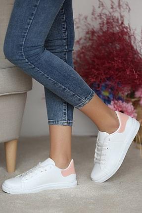 Pembe Potin Kadın Beyaz Pudra Ayakkabı 0