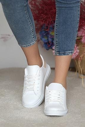Pembe Potin Kadın Beyaz Nut Ayakkabı 1