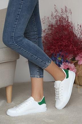 Pembe Potin Kadın Beyaz Yeşil Ayakkabı 0
