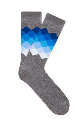 Picture of Baskılı Gri Soket Çorap