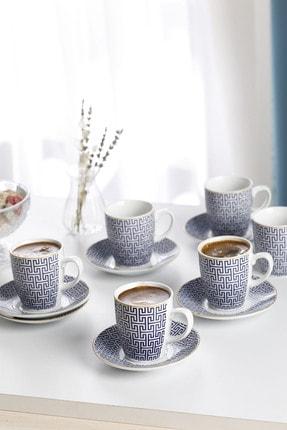 English Home Fiore Porselen 6'lı Kahve Fincan Takımı 100 ml Mavi 0