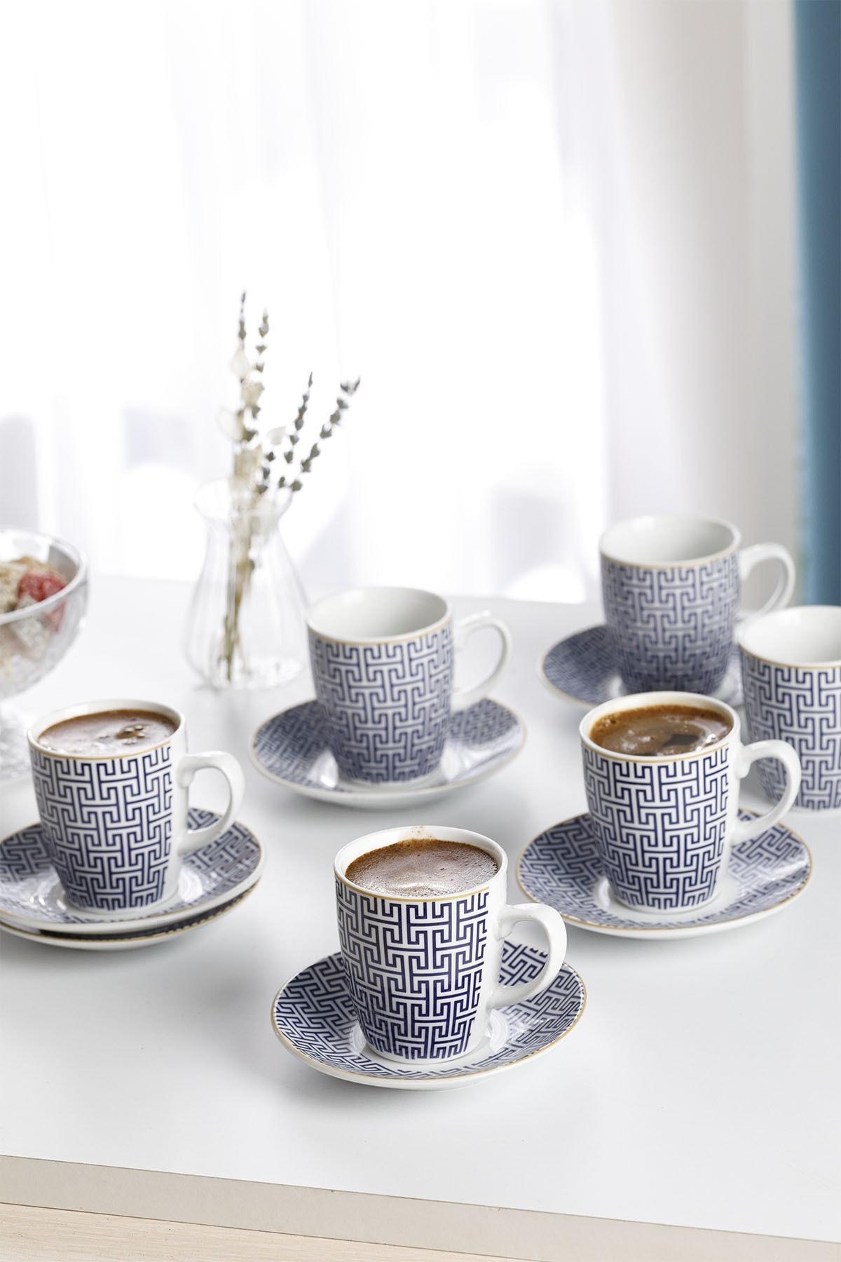 Fiore Porselen 6'lı Kahve Fincan Takımı 100 ml Mavi