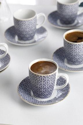 English Home Fiore Porselen 6'lı Kahve Fincan Takımı 100 ml Mavi 1