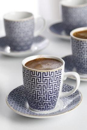 English Home Fiore Porselen 6'lı Kahve Fincan Takımı 100 ml Mavi 2