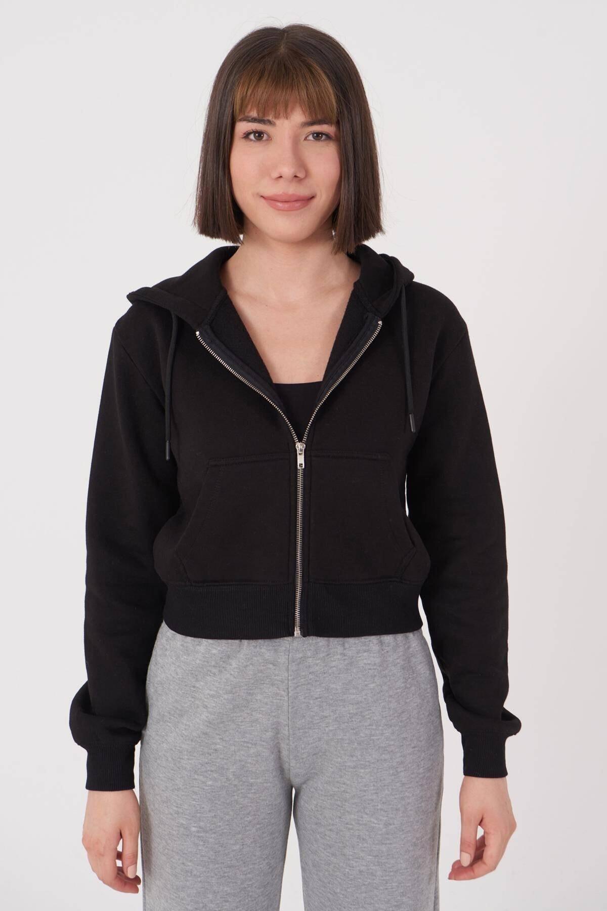 Addax Kadın Siyah Kapüşonlu Hırka H0768 - J9J10 Adx-0000020944 1