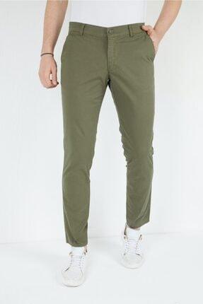 Penye Iplik Likralı Gabardin Slım Regular Kalıp Erkek Pantolonu Haki Yeşil fgt44