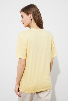 TRENDYOLMİLLA Sarı Boyfriend Örme T-Shirt TWOSS21TS3181 4
