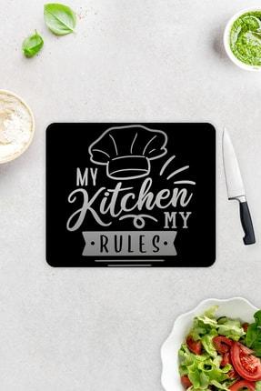 Decorita My Kitchen My Rules   Cam Kesme Tahtası - Cam Kesme Tablası   29cm x 34cm 1