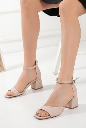 Kadın Kalın Topuklu Tek Bant Yazlık Ayakkabı 7 cm tekbant--hotiç