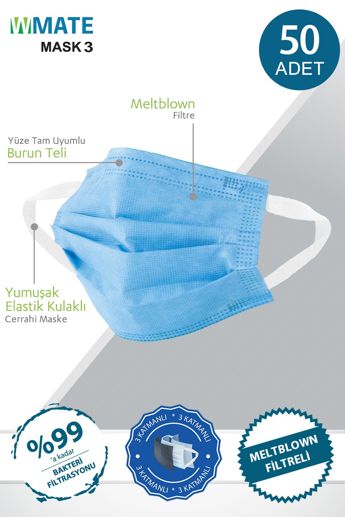 50 Adet Turkuaz Mavi Meltblown Filtreli 3 Katlı Yeni Nesil Maske 10'lu Özel Poşet