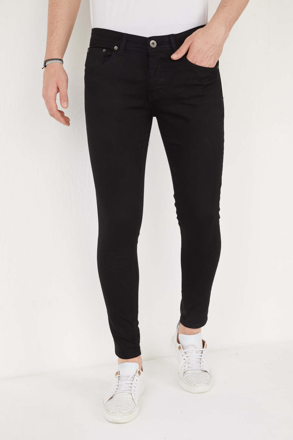 Erkek Siyah Skinny Fit Likralı Bilek Boy Pantolon
