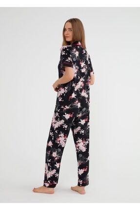 Suwen Kadın Siyah Baskili Felicity Maskulen Pijama Takımı 2
