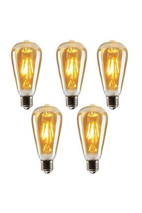LED LAMP St64 Flamanlı Rustik 4w Led Ampul 5'li Dekoratif Vintage Aydınlatma Amber Rengi 0