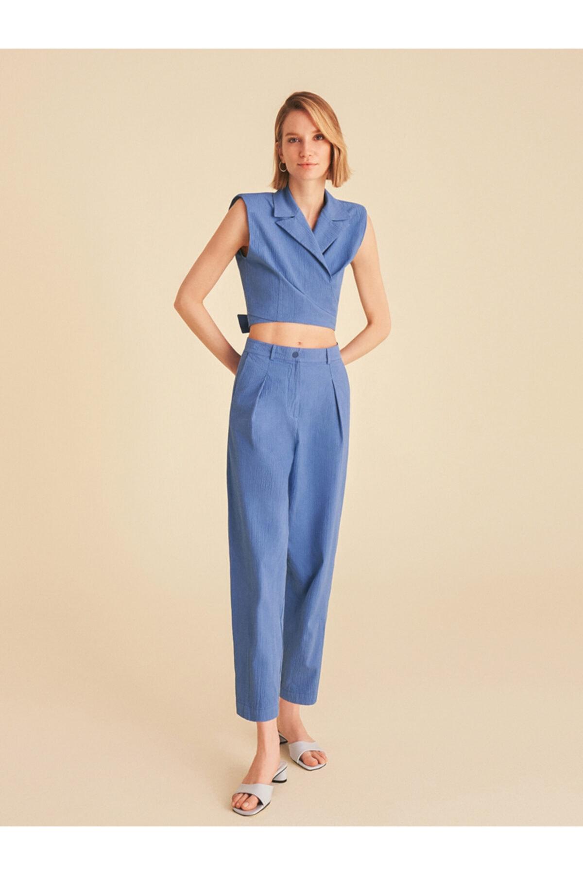 Kadın Mavi Pensli Slouchy Pantolon