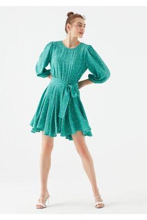 Mavi Kadın Yeşil Çiçek Baskılı Yeşil Elbise 2