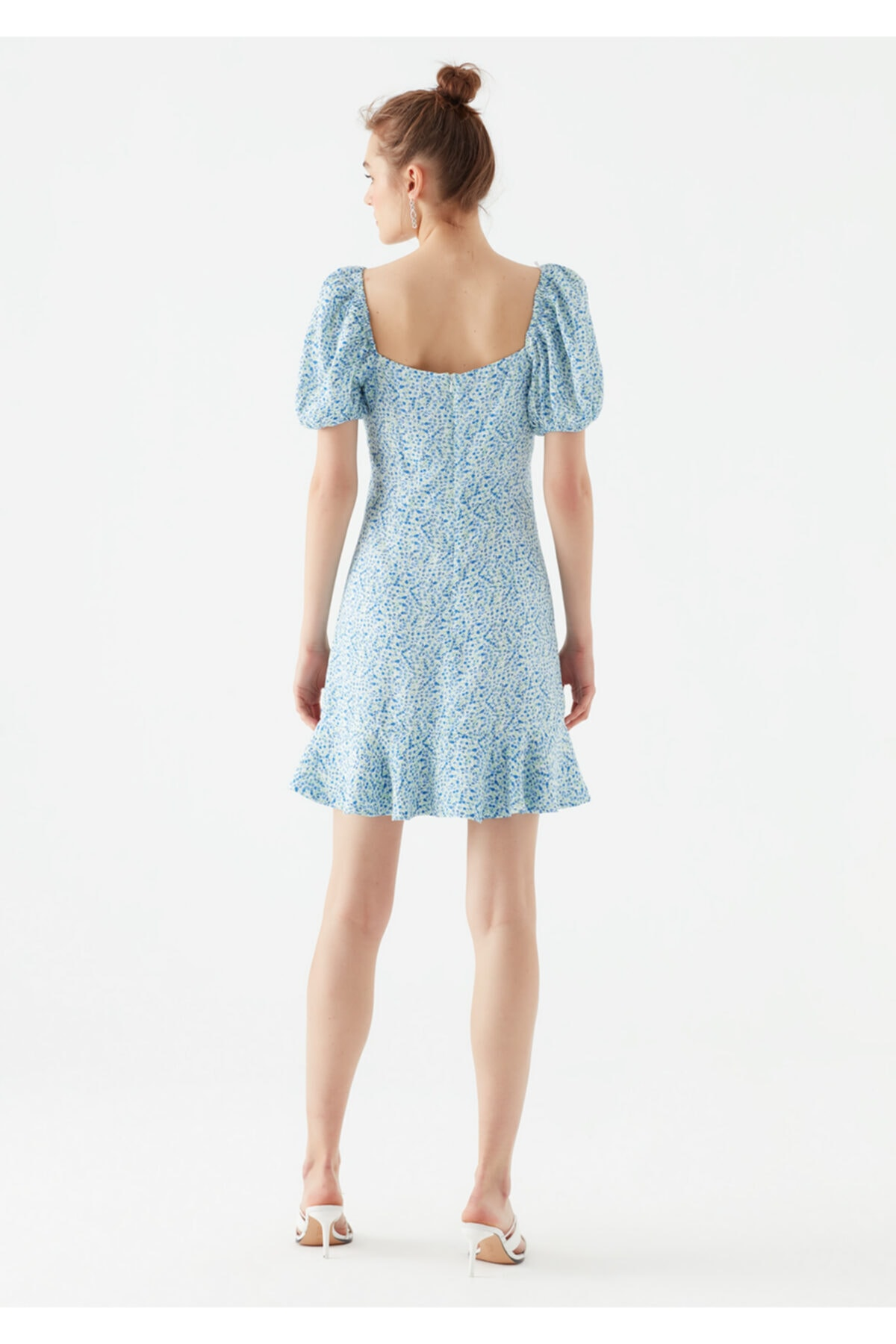 Mavi Kadın Mavi Çiçek Baskılı Elbise