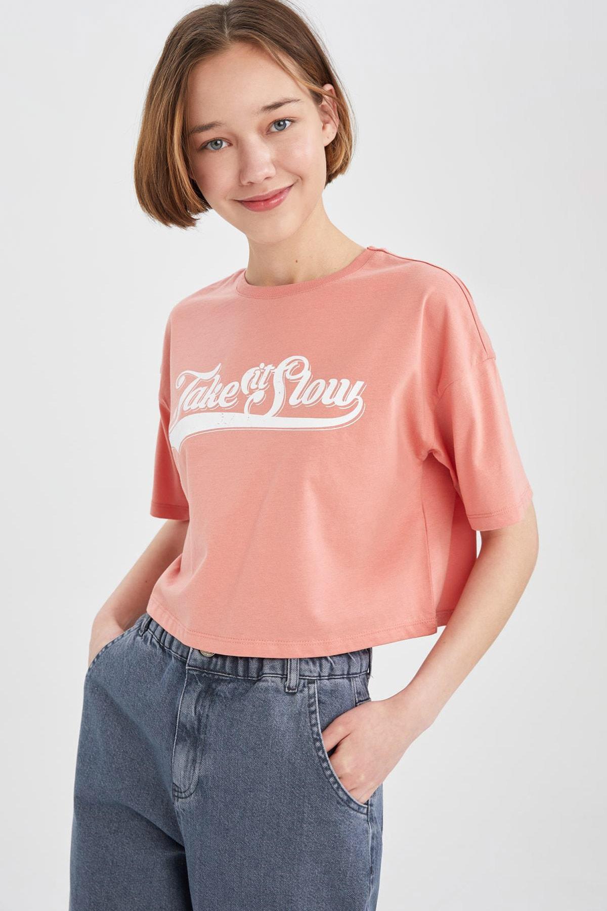 Coool Slogan Baskılı Relax Fit Crop Tişört