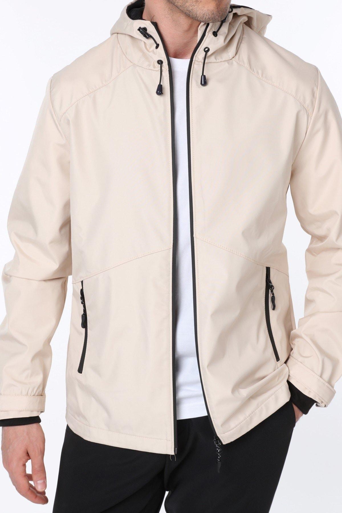 Erkek Taş Rüzgarlık/Yağmurluk Outdoor Omuz Detaylı Mevsimlik Spor Ceket