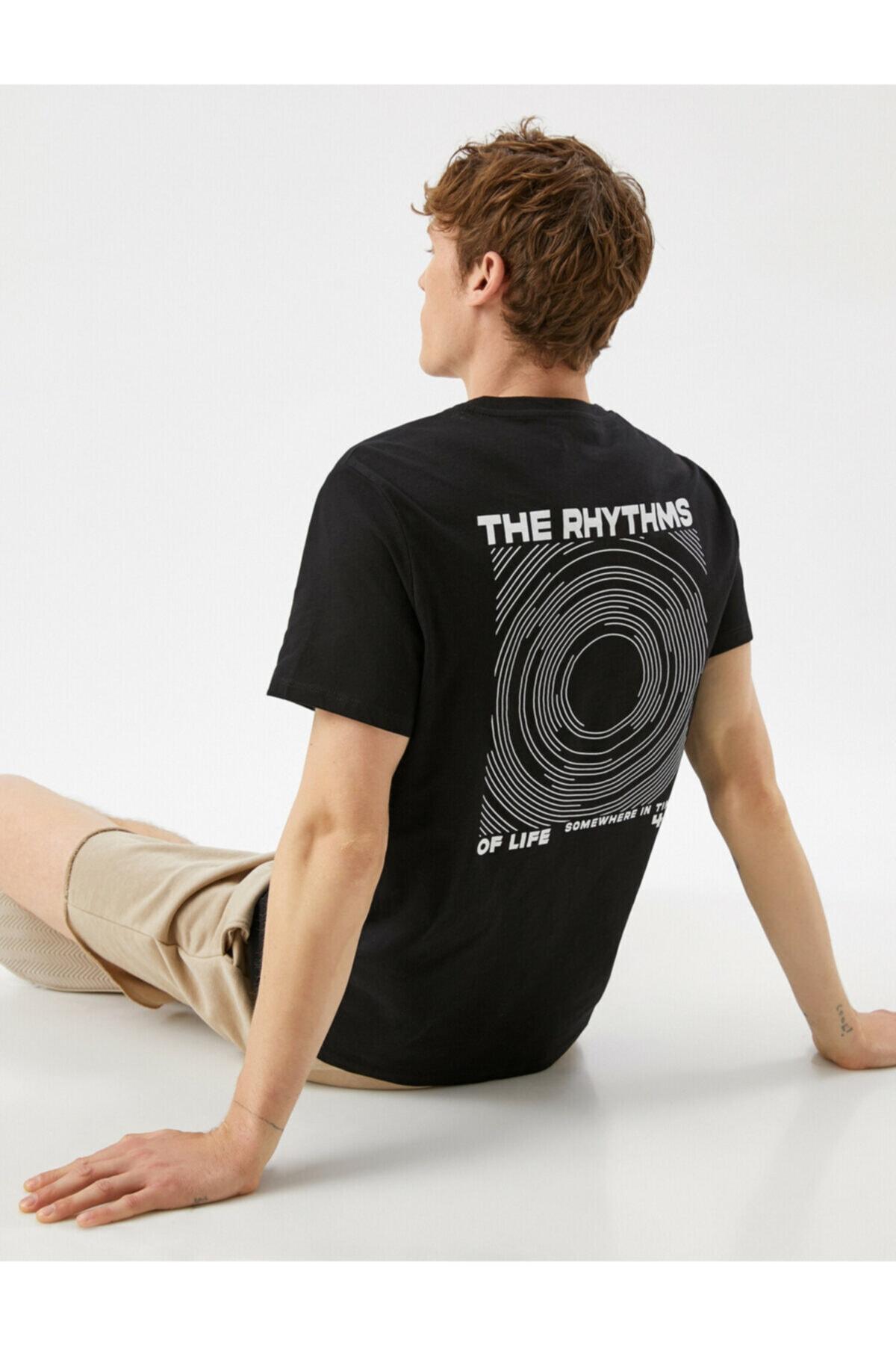 Erkek Siyah Yazılı Baskılı Pamuklu T-shirt