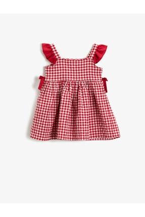 Koton Kız Çocuk Kırmızı Kareli Pamuklu Fiyonklu Elbise 1