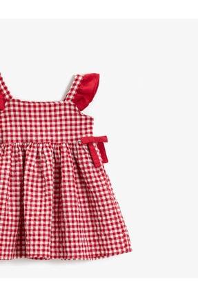 Koton Kız Çocuk Kırmızı Kareli Pamuklu Fiyonklu Elbise 2
