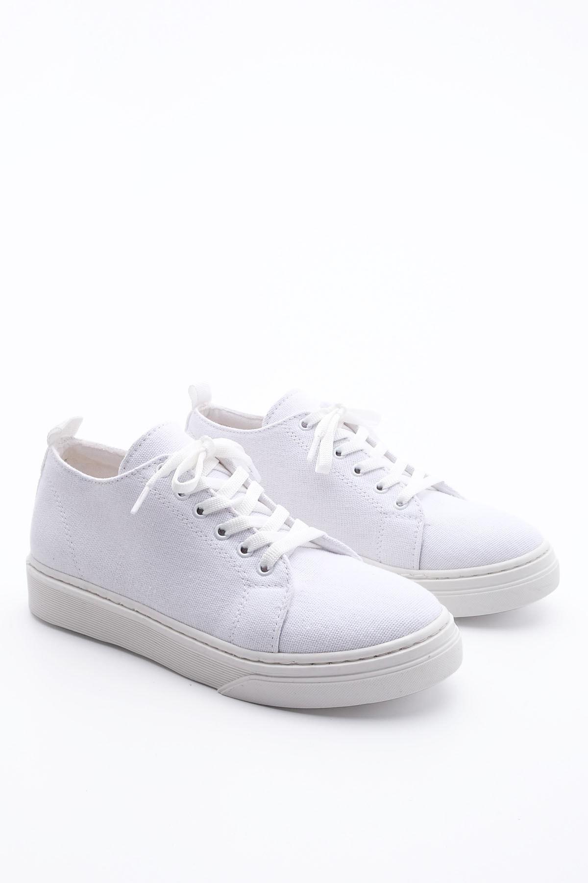 Marjin Kadın Sneaker Keten Spor Ayakkabı RulazBeyaz 4