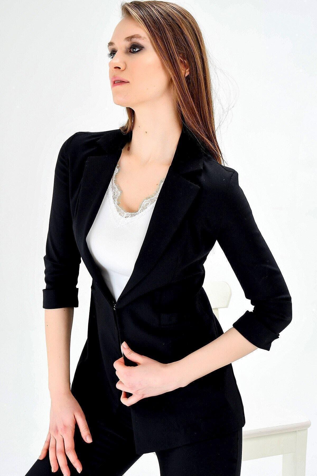 Kapri Truvakar Kol Süs Cepli Kopçalı Ofis Blazer Kumaş Ceket-siyah