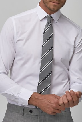 bombe Erkek Beyaz Slim Fit Klasik Gömlek 2