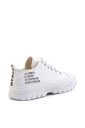 Bambi Beyaz Keten Kadın Sneaker K01530110518 3