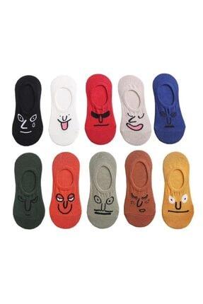 BGK Unisex Renkli Yüz Desenli Babet Çorap 10'lu 1
