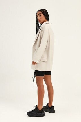 Quzu Kadın Taş Kruvaze Yaka Blazer Ceket 2