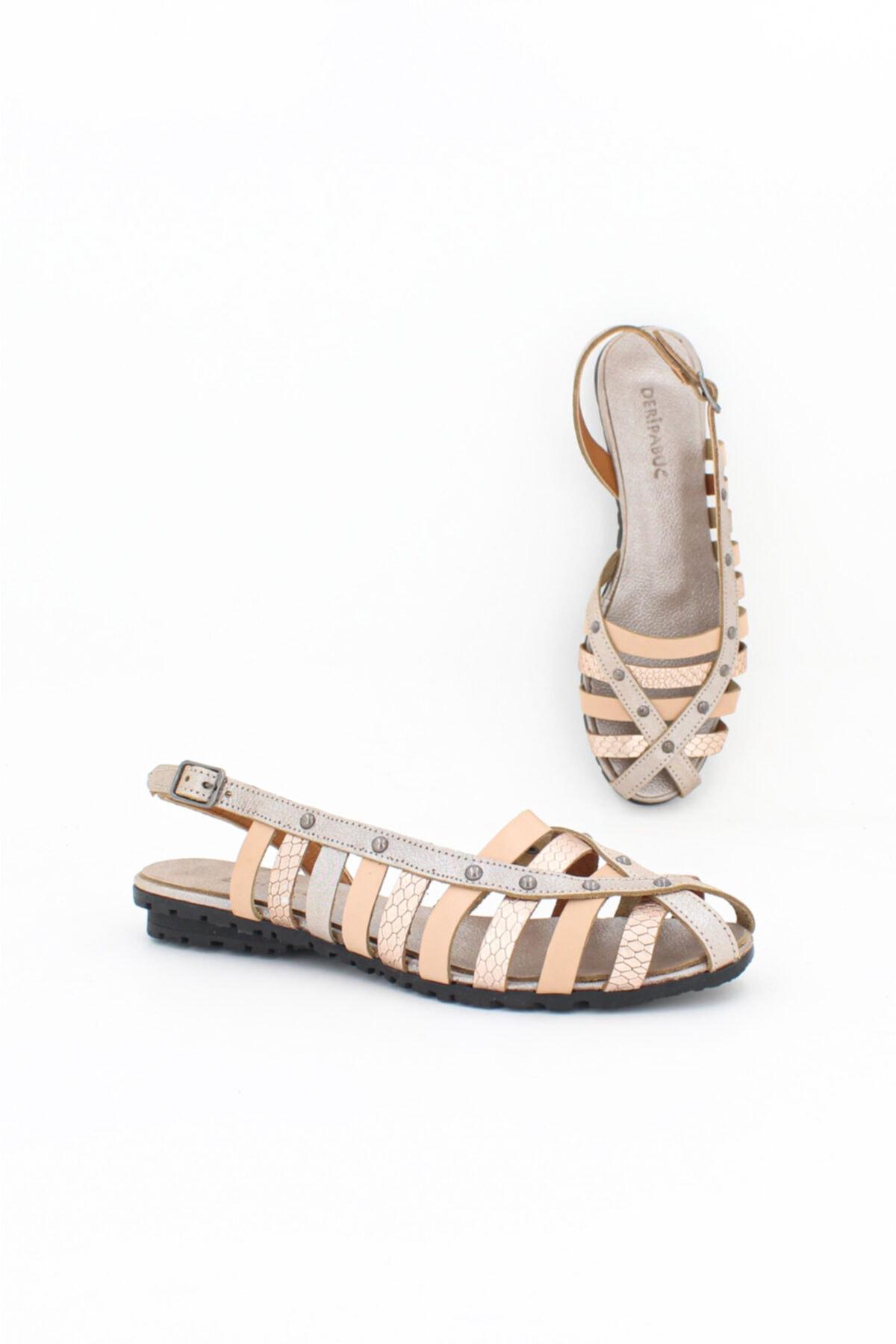 Hakiki Deri Vizon Karma Kadın Deri Sandalet Dp11-6203