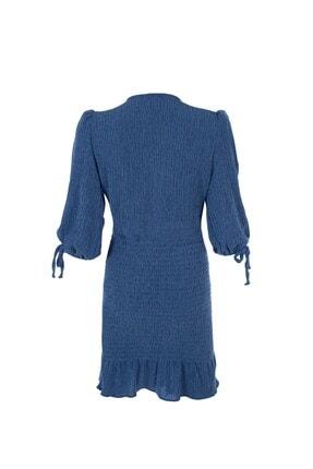 Quzu V Yaka Gipeli Elbise Indigo 1